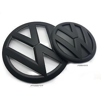 Matte Black VW Transporter T6 Front And Rear Badge Emblem Set 2016+