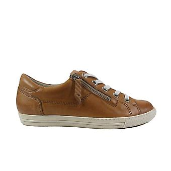 Paul Green 4940-05 Tan Leather Womens Zip/Lace Up Trainers