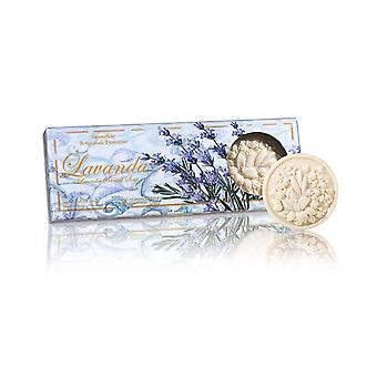 Saponificio Artigianale Fiorentino Handgemaakte Reliëf Lavendel Zeep liefdevol verpakt in hoge kwaliteit Gift Box 3x125g