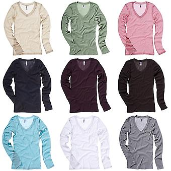 Bella + Canvas Womens/Ladies Sheer Mini Rib Long Sleeve V-Neck T-Shirt
