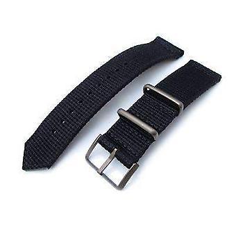 Correa de reloj de tela Strapcode 20mm, 22mm dos piezas ww2 g10 negro 3d nylon, hebilla de bronce IP