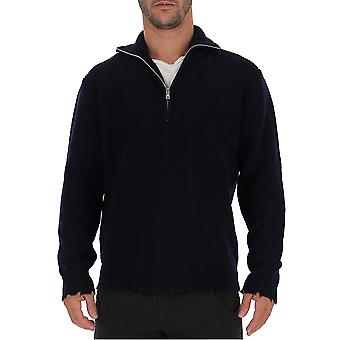Laneus Mgu757cc20blu Men's Black Wool Sweater