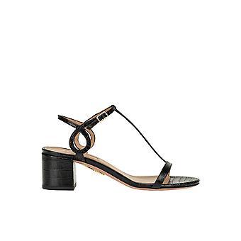 Aquazzura Ezgl481002 Women's Black Leather Sandals