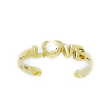 14k Yellow Gold CZ Cubic Zirconia Simulated Diamond Adjustable Love Body Jewelry Toe Ring Jewelry Gifts for Women