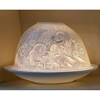 Nordic Lights Puppies Dogs Tealight Candle Shade & Tray
