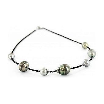 Luna-Pearls Perlencollier Tahiti 8-13mm Spinellsteine 925 Silberrhod. 1063892