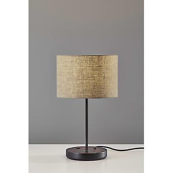 Matte Black Metal Wood Wireless Charging Table Lamp