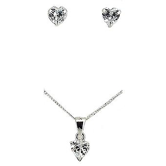 TOC Sterling Silver Clear Rhinestone Heart Earrings & Pendant Necklace 18