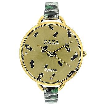 Zaza London Green Leopard Design Strap Ladies Goldtone Dial Fashion Watch LLB872