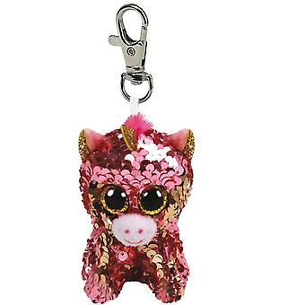 Ty Flippable Sequins - Sunset Coral Unicorn Key Clip