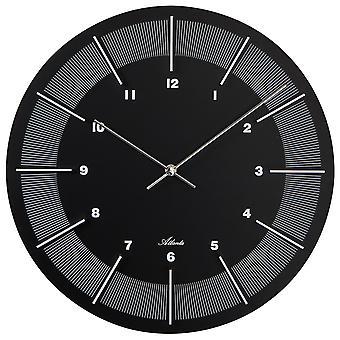 أتلانتا 4471/7 الجدار ساعة الخشب جولة سوداء