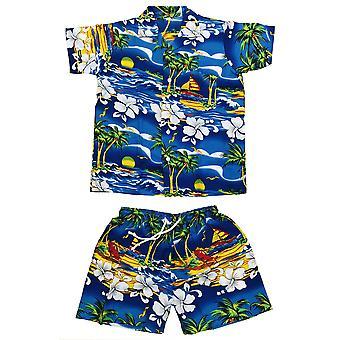 Club cubana lapset pojat tytöt lasten slim fit klassinen lyhythihainen rento paitoja ja shortsit asettaa tummansininen