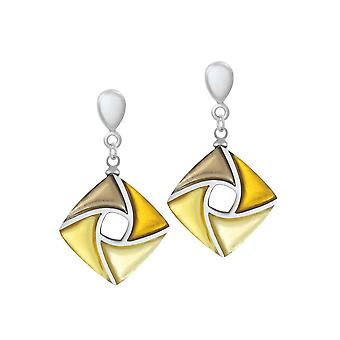 Eternal Collection Kite Shades Of Gold Silvered Resin Drop Screw Back Clip On Earrings