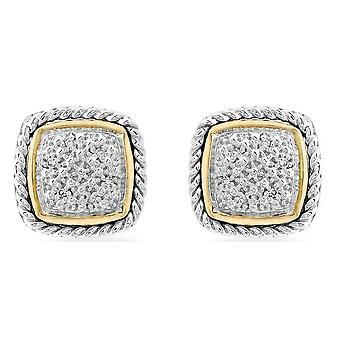 Pave de diamantes KJ Beckett conjunto brincos - prata/ouro