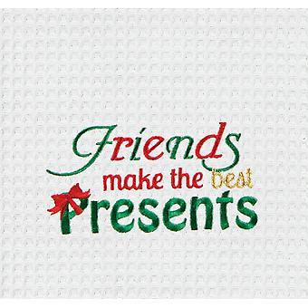 Os amigos fazem os melhores presentes feriado toalha de cozinha waffle weave 27 polegadas