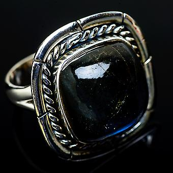 Large Labradorite Ring Size 7.25 (925 Sterling Silver)  - Handmade Boho Vintage Jewelry RING11618