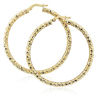 Jewelco London 9ct Gold Hammered Hoop Earrings