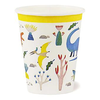 Dinosaur Party Paper Cups Recyclable - Fête d'anniversaire x 8