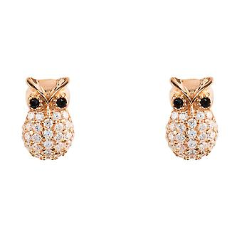Latelita 925 Sterling Silver Animal Small Stud Earrings Owl Rose Gold Pink CZ