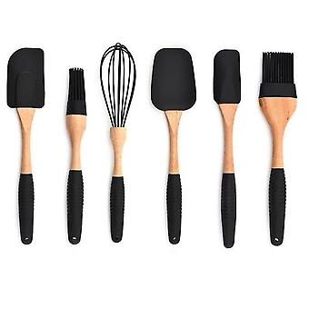 Silicone Wood Turner Soup Spoon Spatula Brush Scraper Pasta Gloves Egg Beater Kitchen Cooking Tools