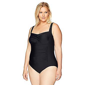 Brand - Coastal Blue Women's Plus Size One Piece Swimsuit, Ebony, 2X (...