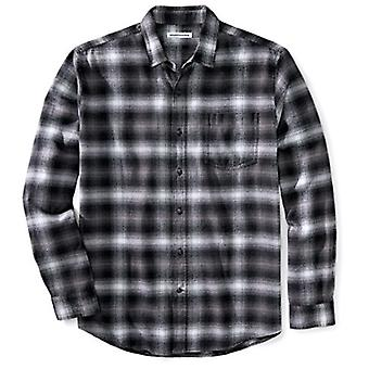 Essentials men's camisa de franela de manga larga de manga larga de ajuste regular,...