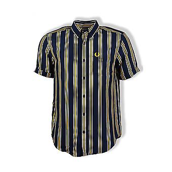 Fred Perry Vertical Stripe Shirt (Carbon Blue)