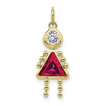10k Yellow Gold Polished July Girl Charm Pendant Necklace Jewelry Gifts for Women