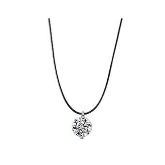Zircon Pendant Necklace w- Invisible Chain