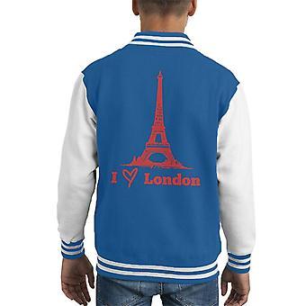 Eiffel Tower jeg elsker London Kid ' s Varsity jakke