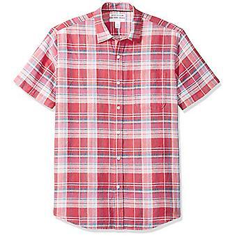 أساسيات الرجال & apos;ق العادية تناسب قصيرة الأكمام قميص الكتان المنقوش, أحمر, كبير