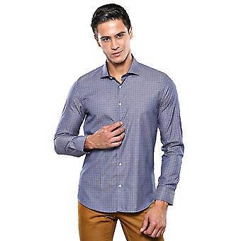 Geruit slank-fit marineblauw shirt | wessi wessi