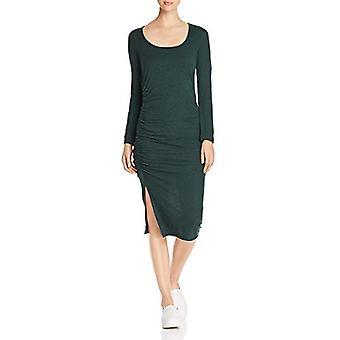 Three Dots Women's VJ5860 eco Knit l/s Shirred Dress, deep Pine, Extra Large
