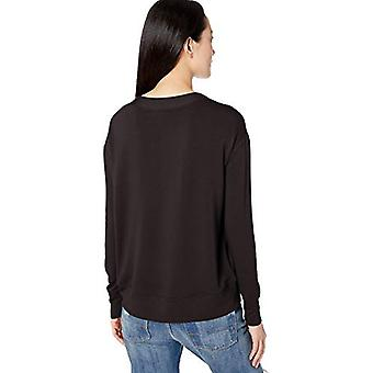 Brand - Daily Ritual Women's Supersoft Terry Langærmet Dyb V-Hals Shirt, Sort, X-Large