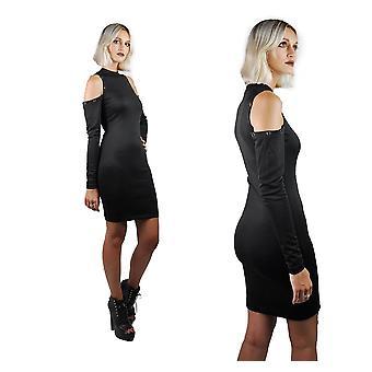 Frauen's High Neck Schulter ausgeschnitten langärmelige Mini-Kleid