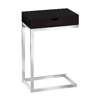 CAPPUCCINO / CHROME METAL ACCENT TABLE WITH A DRAWER