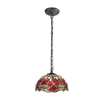 Éclairage Luminosa - 1 pendentif léger léger sur le plafond E27 avec 30cm Tiffany Shade, Violet, Rose, Cristal, Laiton Antique Vieilli