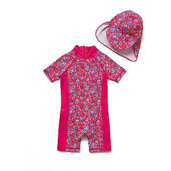 Bonverano Baby Girls UPF 50+ Sun Protection Short Sleeves Zipper Sunsuit