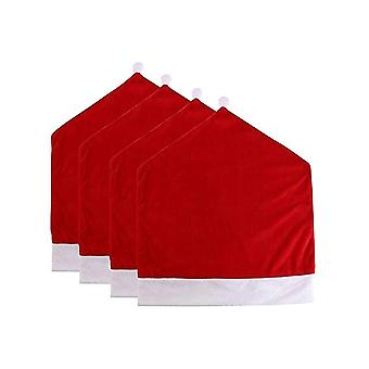 4PCS Christmas Dining Chair Slipcovers Santa Claus Hat Design