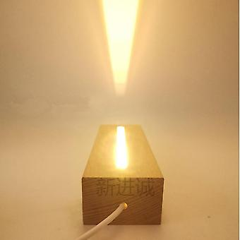 Wooden Led Lamp Base Usb Cable Switch Modern Night Light, Acrylique 3d Led Night