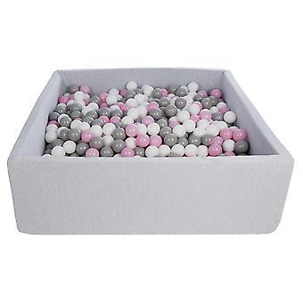 Kwadratowy dół kulkowy 120x120 cm z 900 kulkami biały, jasnofioletowy i szary