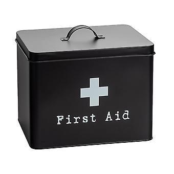 Industrial First Aid Box - Vintage Style 2-Tier Steel Medicine Storage Organiser - Black