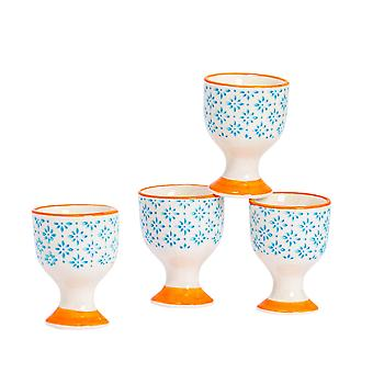 Nicola Spring 4 Piece Hand-Printed Egg Cup Set - Japanese Style Porcelain Breakfast Hard Soft Boiled Eggs Holder - Blue