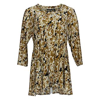 Attitudes by Renee Women's Petite Top Printed Godet Tunic Beige A378523