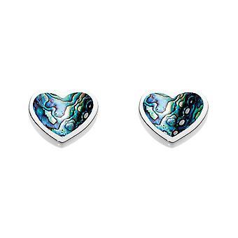 Dew Sterling Silver Dinky Paua Shell Heart Stud Earrings 3062PA
