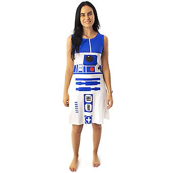 Star Wars R2D2 Costume Dress Women's Ladies Cosplay Droid White Clothing