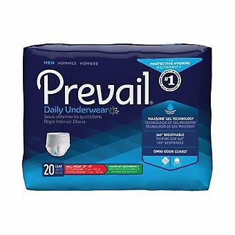First Quality Male Adult Absorbent Underwear Prevail Men's Daily Underwear Pull On with Tear Away Seams Small / M, 20 Bags