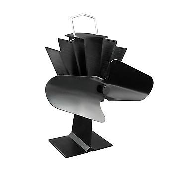 Durable 2 Blades Aluminum Black Heat Powered Stove Fan Fuel Saving,