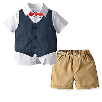 Boy Clothes, Formal Dress Gentleman Bow Tie Shirt,  Vest Shorts Sets