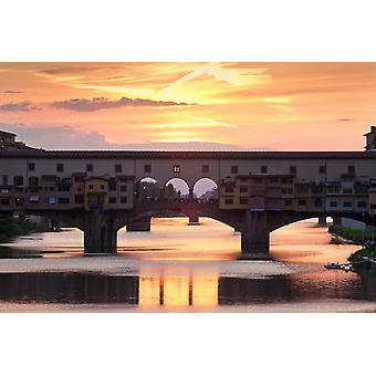 Ponte Vecchion sillalta sunset Arno joelle Firenze Toscana Italia Juliste Tulosta